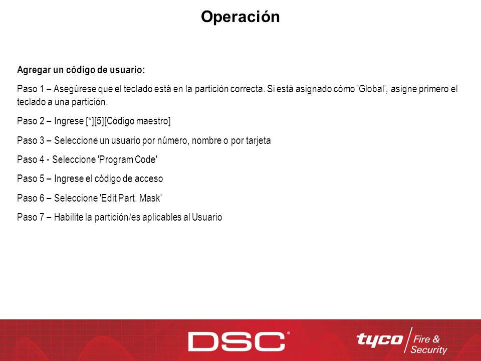Operación Agregar un código de usuario: