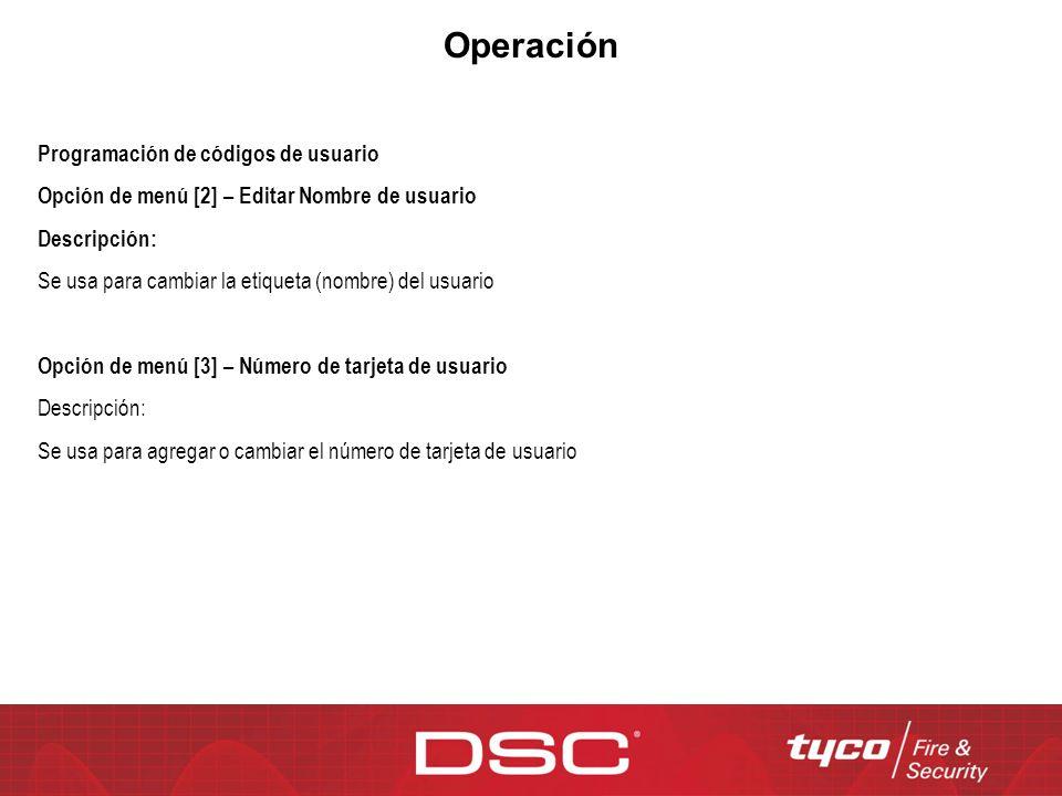 Operación Programación de códigos de usuario