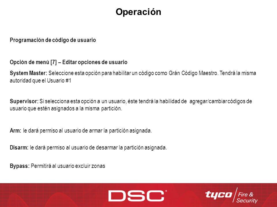 Operación Programación de código de usuario