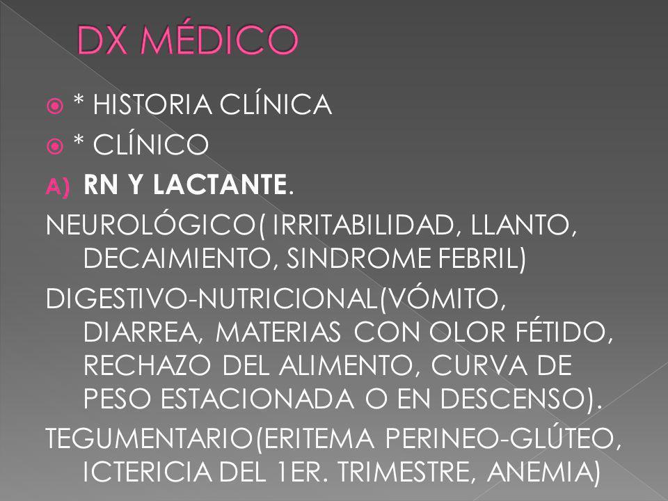 DX MÉDICO * HISTORIA CLÍNICA * CLÍNICO RN Y LACTANTE.