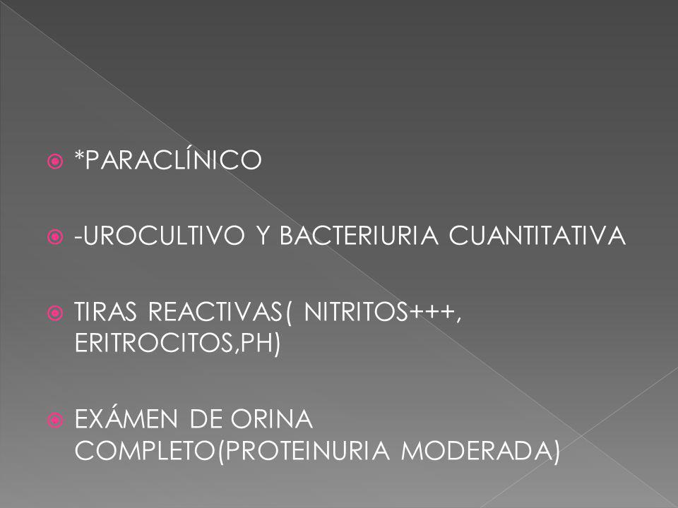 *PARACLÍNICO -UROCULTIVO Y BACTERIURIA CUANTITATIVA. TIRAS REACTIVAS( NITRITOS+++, ERITROCITOS,PH)
