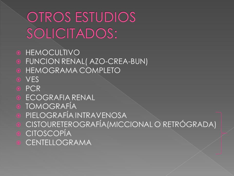 OTROS ESTUDIOS SOLICITADOS: