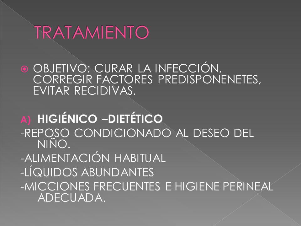 TRATAMIENTO OBJETIVO: CURAR LA INFECCIÓN, CORREGIR FACTORES PREDISPONENETES, EVITAR RECIDIVAS. HIGIÉNICO –DIETÉTICO.