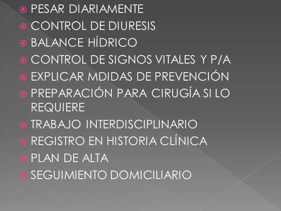 PESAR DIARIAMENTE CONTROL DE DIURESIS. BALANCE HÍDRICO. CONTROL DE SIGNOS VITALES Y P/A. EXPLICAR MDIDAS DE PREVENCIÓN.