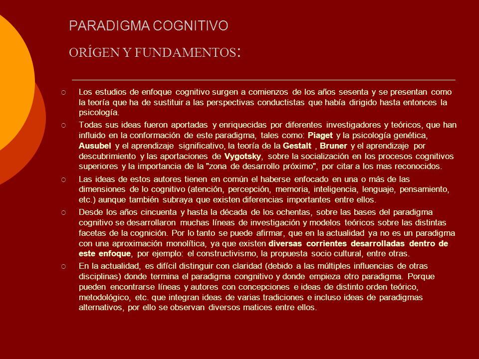 PARADIGMA COGNITIVO ORÍGEN Y FUNDAMENTOS: