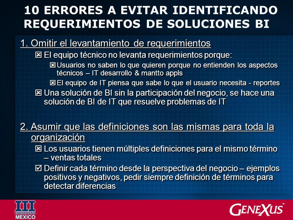 10 ERRORES A EVITAR IDENTIFICANDO REQUERIMIENTOS DE SOLUCIONES BI