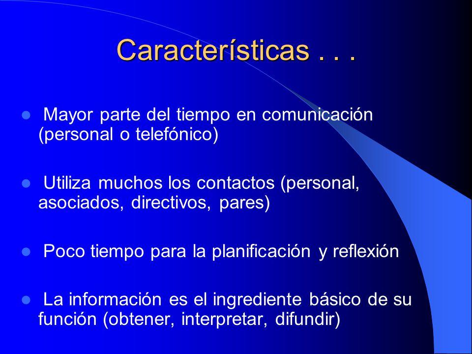 Características . . . Mayor parte del tiempo en comunicación (personal o telefónico)
