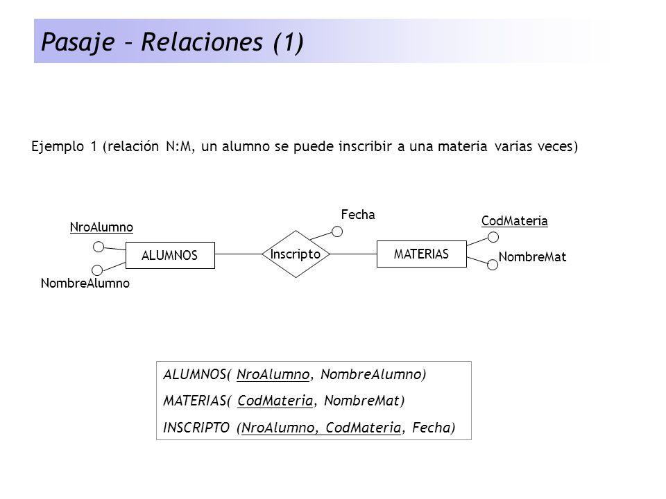 Pasaje – Relaciones (1) Ejemplo 1 (relación N:M, un alumno se puede inscribir a una materia varias veces)