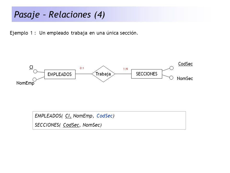 Pasaje – Relaciones (4) Ejemplo 1 : Un empleado trabaja en una única sección. EMPLEADOS. SECCIONES.