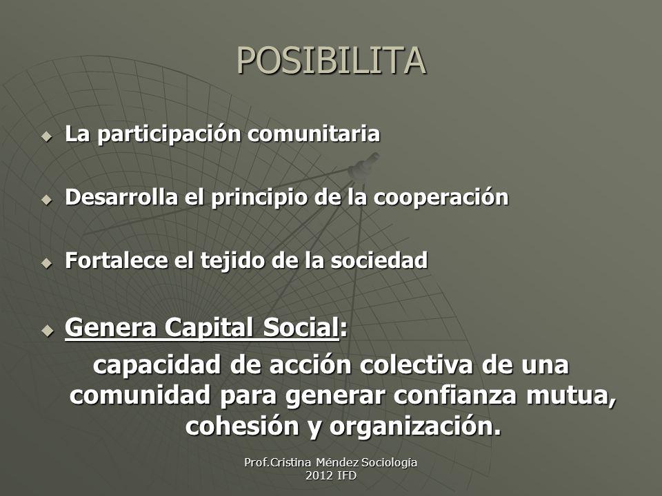 Prof.Cristina Méndez Sociología 2012 IFD