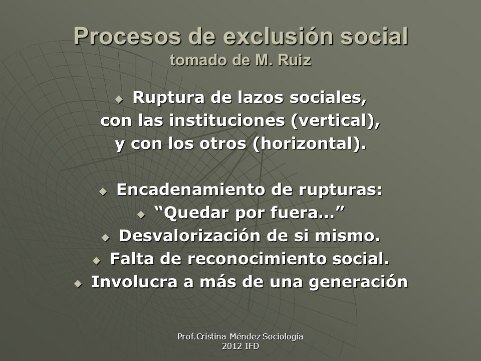 Procesos de exclusión social tomado de M. Ruiz