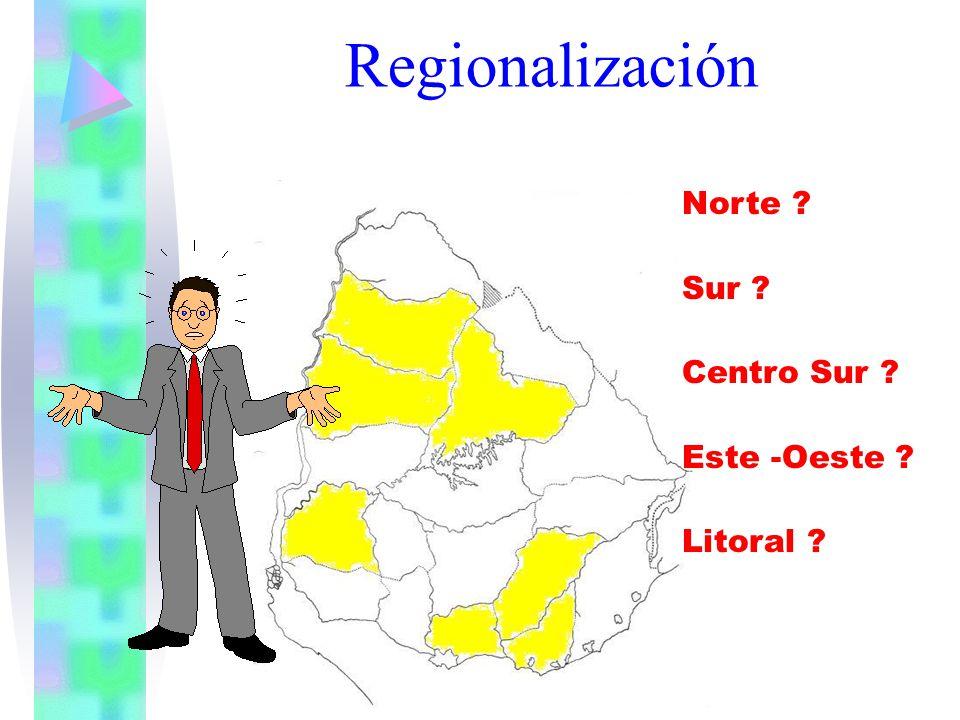 Regionalización Norte Sur Centro Sur Este -Oeste Litoral