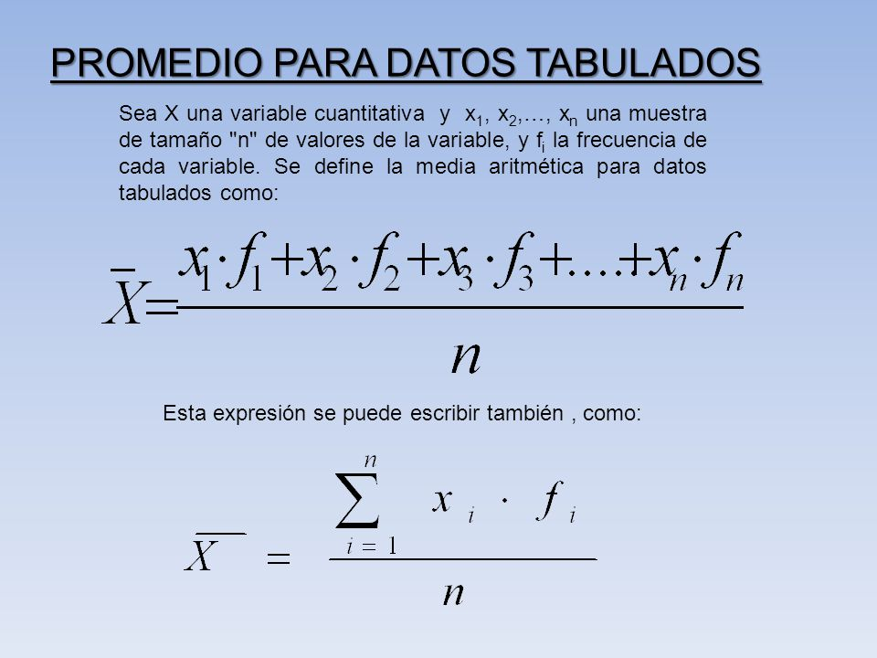 PROMEDIO PARA DATOS TABULADOS