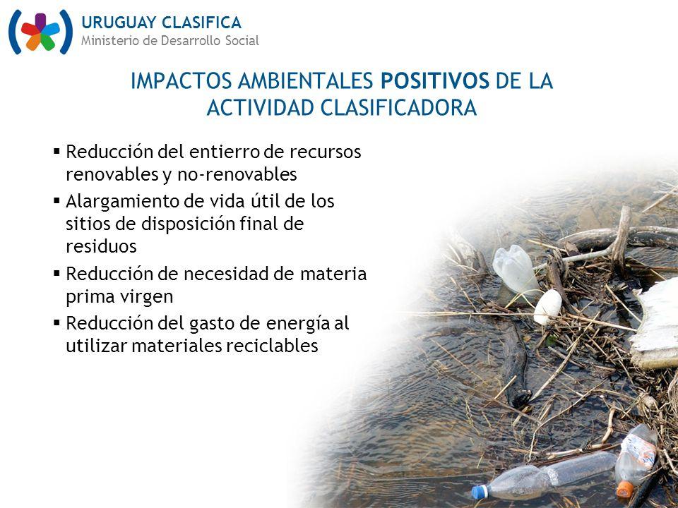 IMPACTOS AMBIENTALES POSITIVOS DE LA ACTIVIDAD CLASIFICADORA