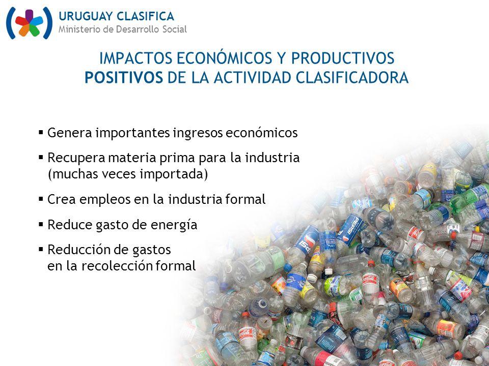 IMPACTOS ECONÓMICOS Y PRODUCTIVOS POSITIVOS DE LA ACTIVIDAD CLASIFICADORA