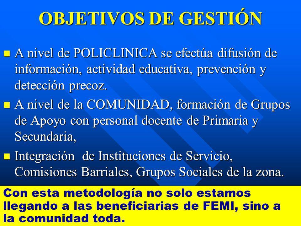 OBJETIVOS DE GESTIÓN A nivel de POLICLINICA se efectúa difusión de información, actividad educativa, prevención y detección precoz.