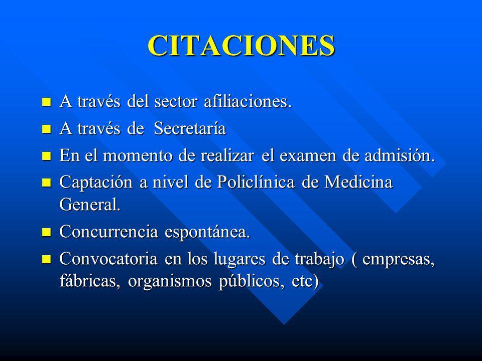 CITACIONES A través del sector afiliaciones. A través de Secretaría
