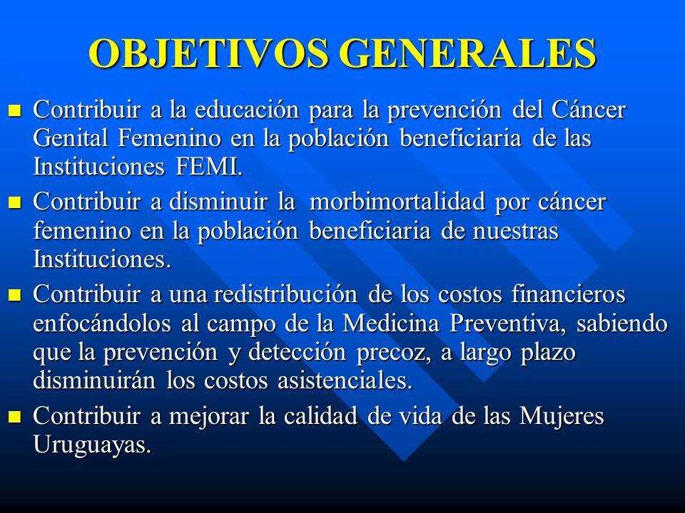 OBJETIVOS GENERALES Contribuir a la educación para la prevención del Cáncer Genital Femenino en la población beneficiaria de las Instituciones FEMI.