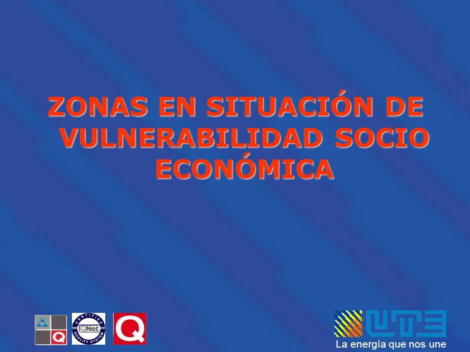 ZONAS EN SITUACIÓN DE VULNERABILIDAD SOCIO ECONÓMICA
