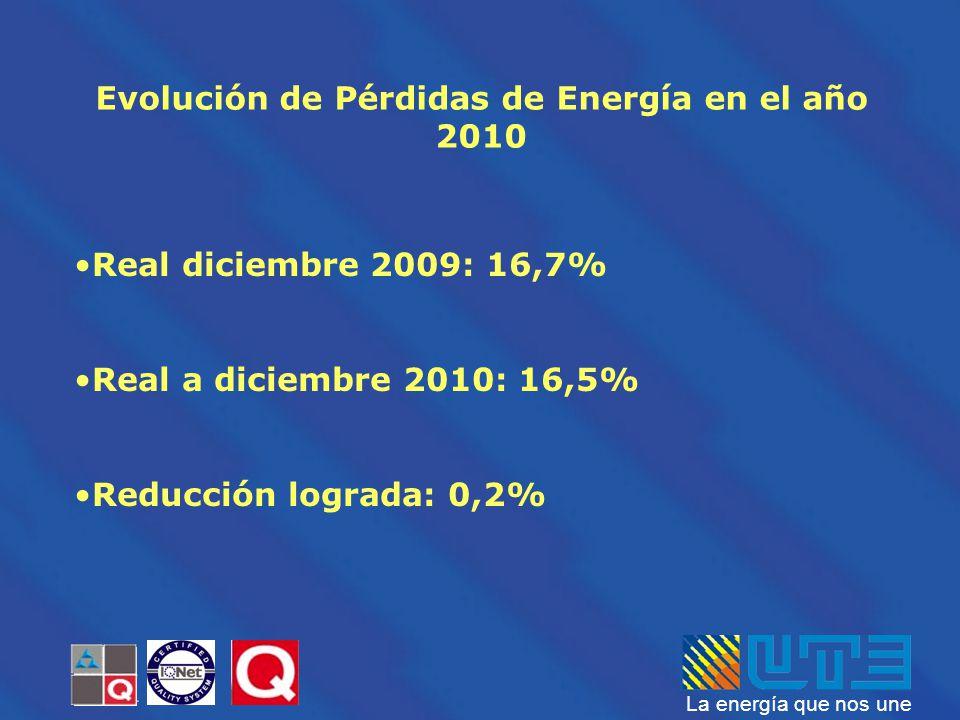 Evolución de Pérdidas de Energía en el año 2010