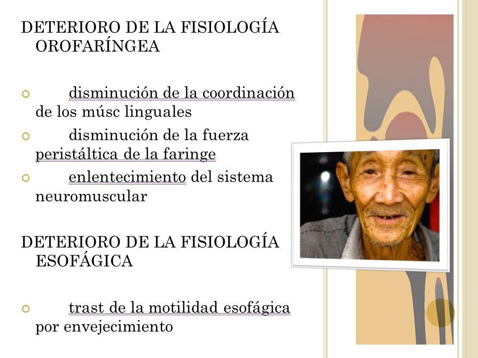 DETERIORO DE LA FISIOLOGÍA OROFARÍNGEA