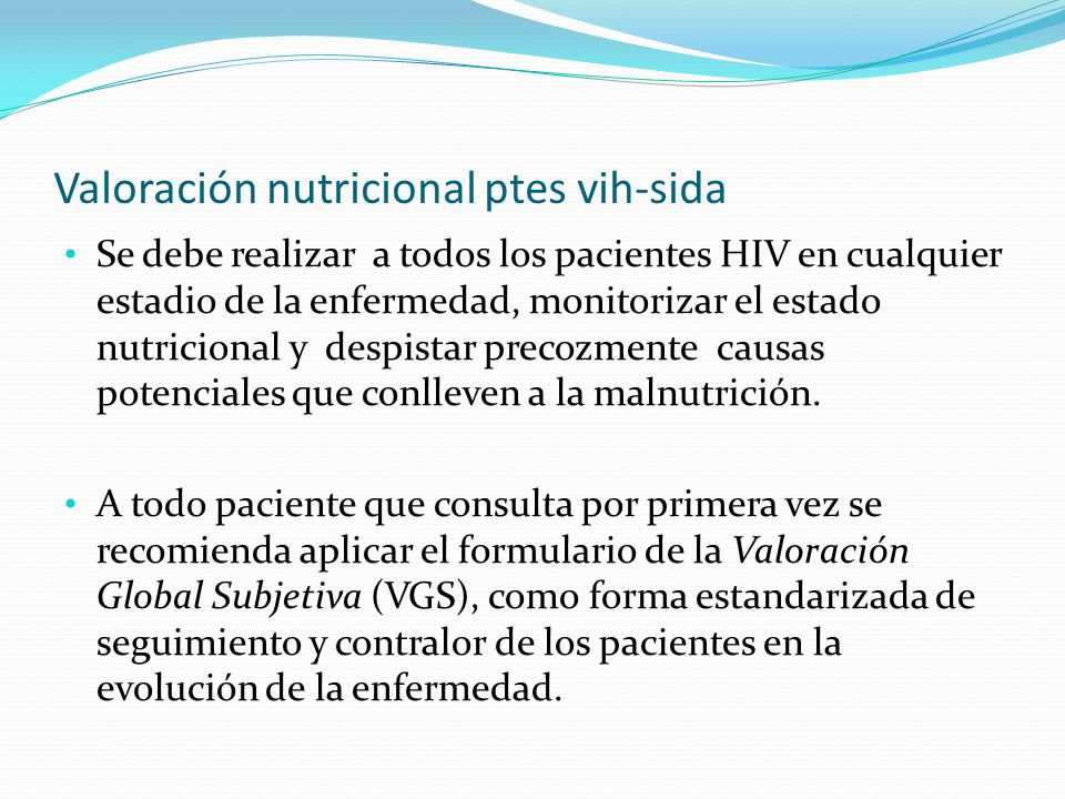 Valoración nutricional ptes vih-sida