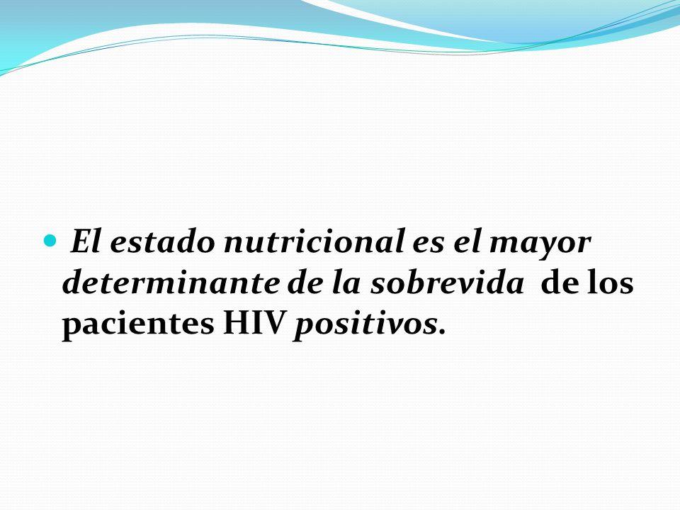 El estado nutricional es el mayor determinante de la sobrevida de los pacientes HIV positivos.