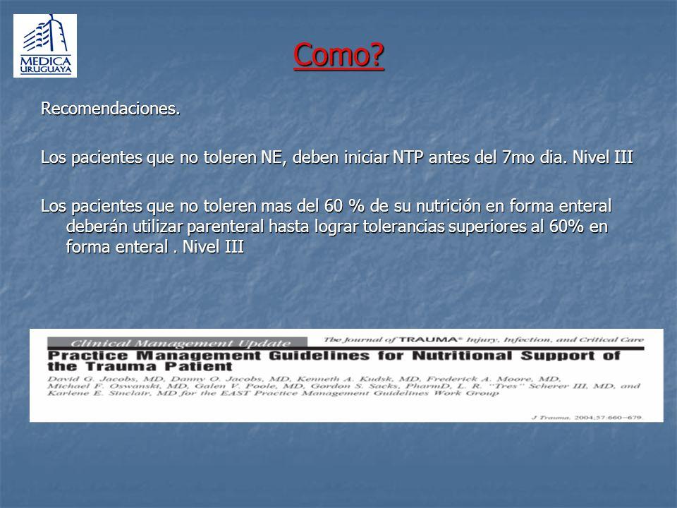 Como Recomendaciones. Los pacientes que no toleren NE, deben iniciar NTP antes del 7mo dia. Nivel III.