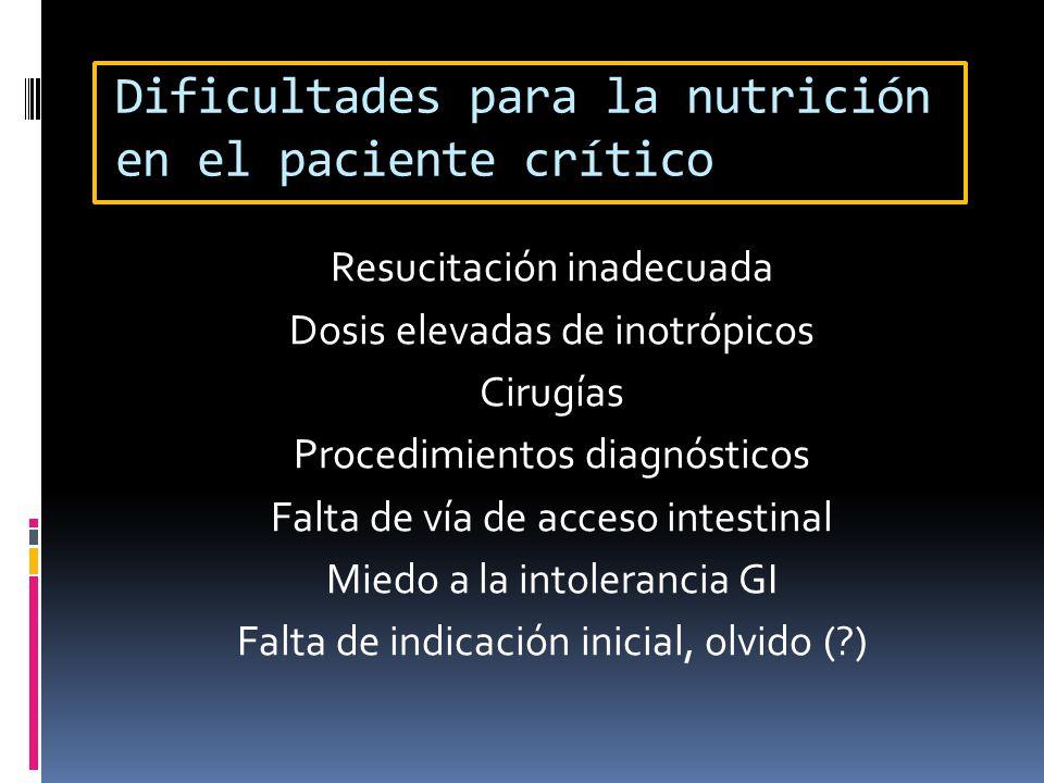 Dificultades para la nutrición en el paciente crítico