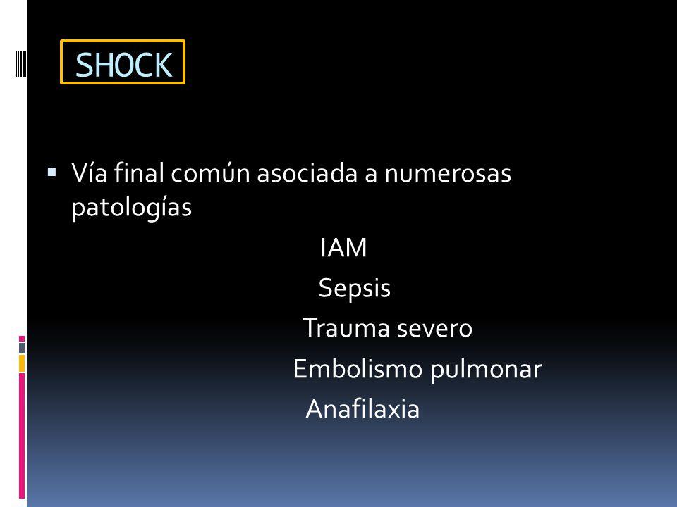 SHOCK Vía final común asociada a numerosas patologías IAM Sepsis