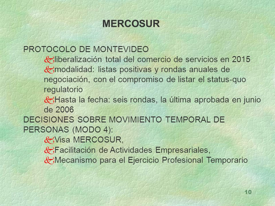 MERCOSUR PROTOCOLO DE MONTEVIDEO