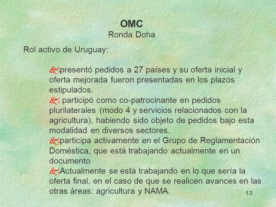 OMC Ronda Doha Rol activo de Uruguay:
