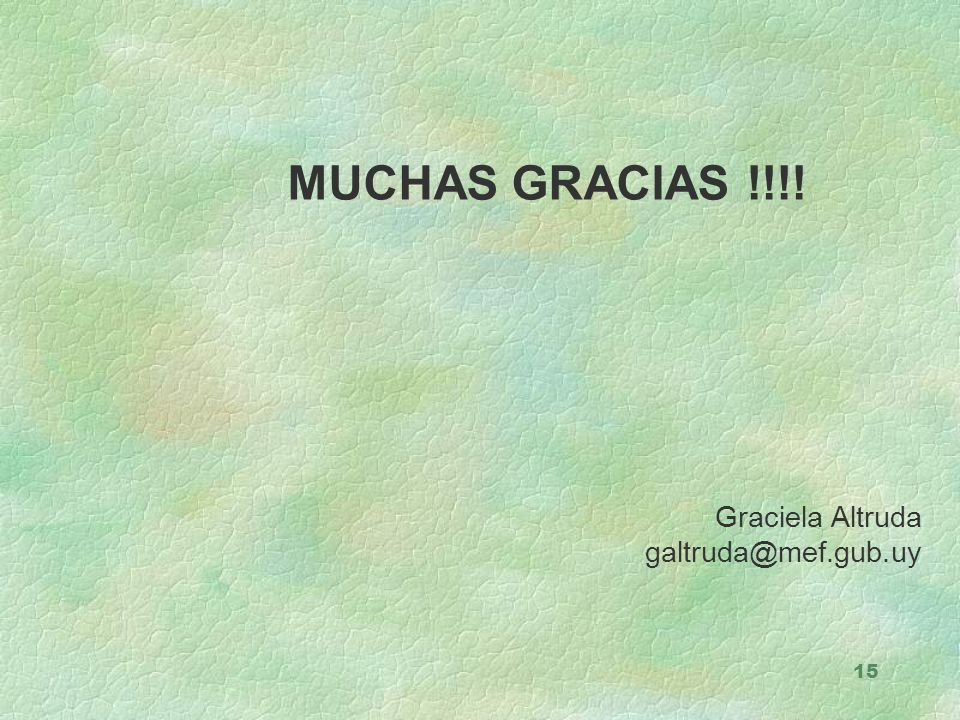 MUCHAS GRACIAS !!!! Graciela Altruda galtruda@mef.gub.uy