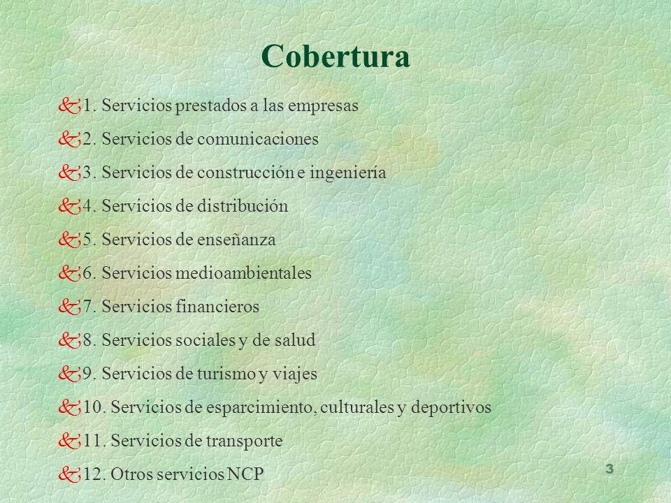 Cobertura 1. Servicios prestados a las empresas