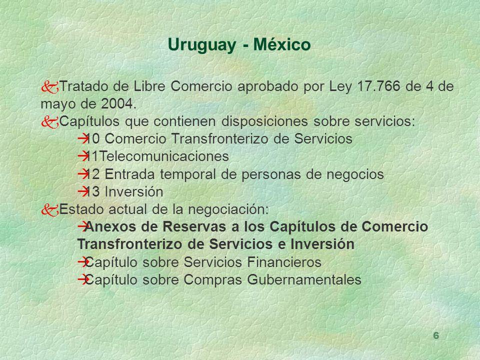 Uruguay - México Tratado de Libre Comercio aprobado por Ley 17.766 de 4 de mayo de 2004. Capítulos que contienen disposiciones sobre servicios: