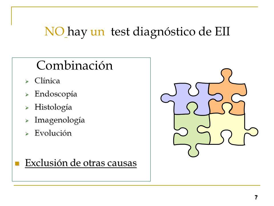 NO hay un test diagnóstico de EII