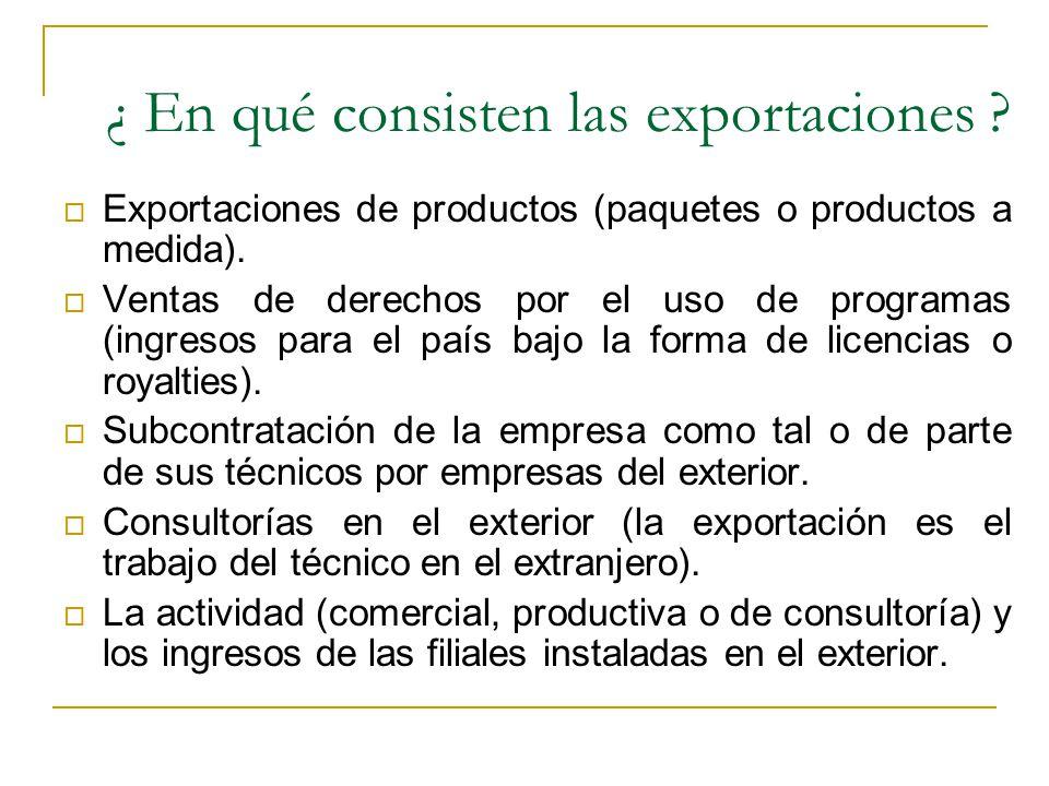 ¿ En qué consisten las exportaciones