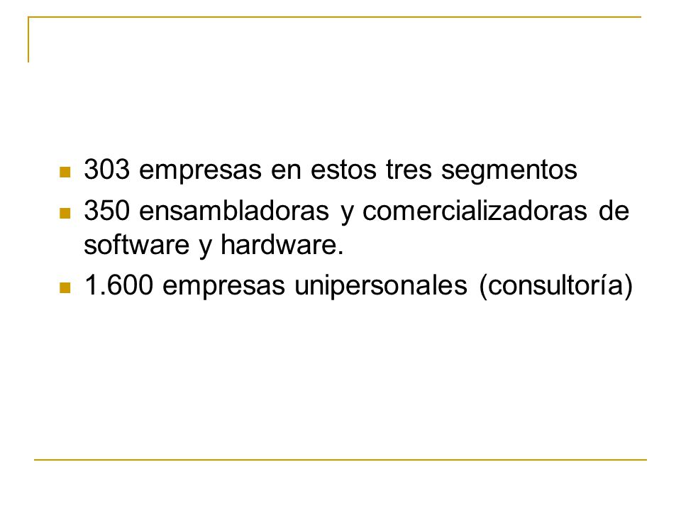 303 empresas en estos tres segmentos