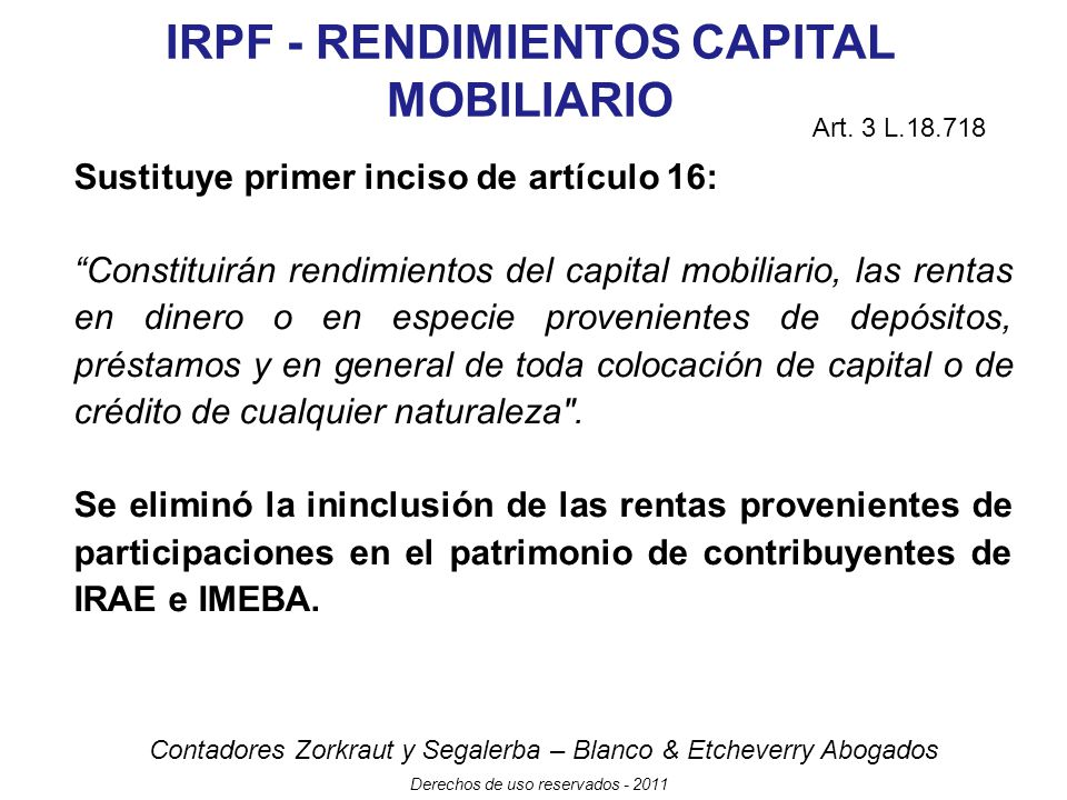 IRPF - RENDIMIENTOS CAPITAL MOBILIARIO