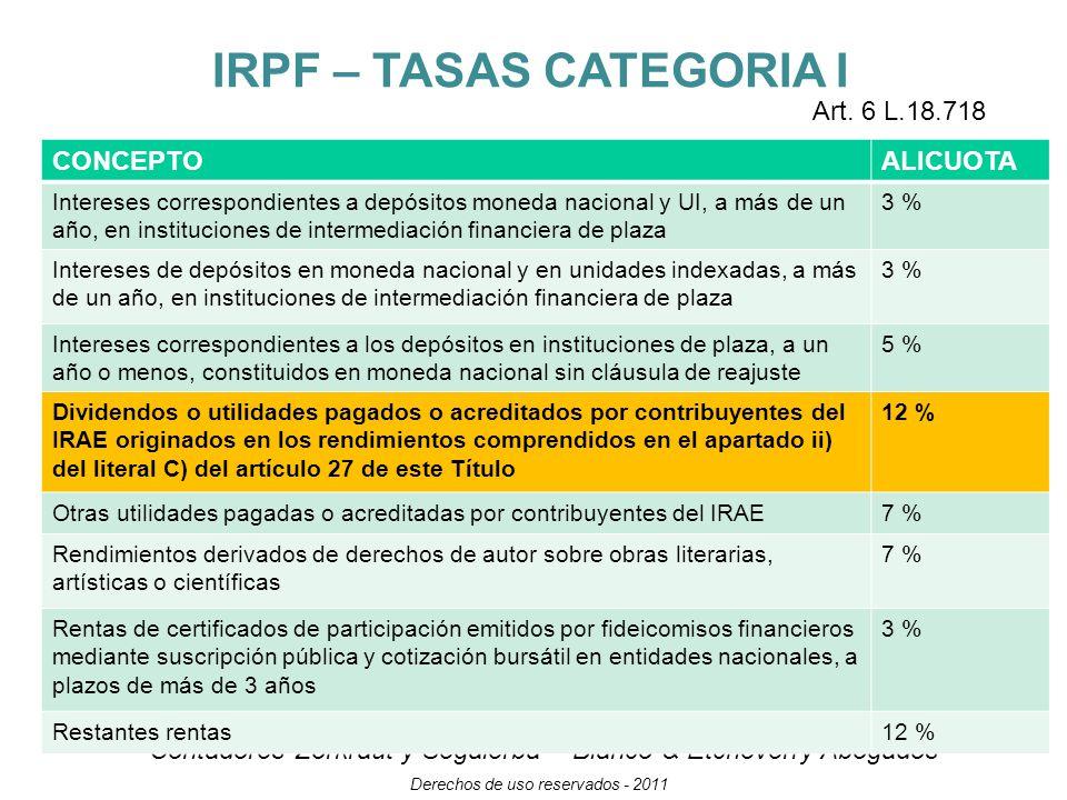 IRPF – TASAS CATEGORIA I