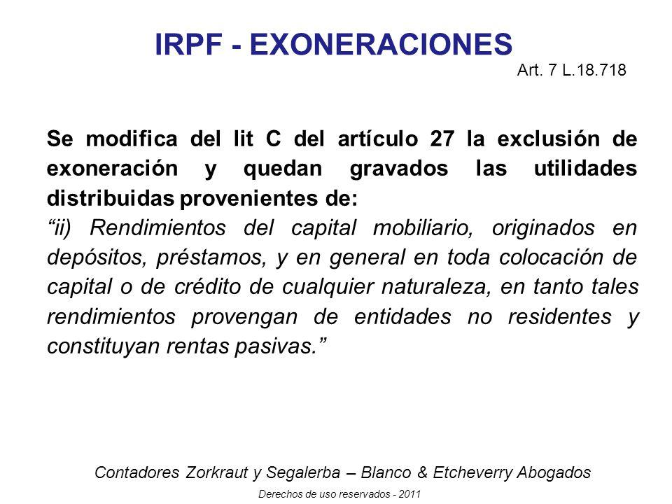 IRPF - EXONERACIONES Art. 7 L.18.718.