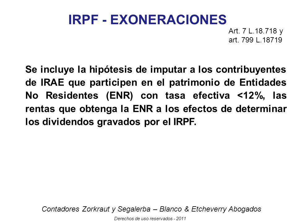 IRPF - EXONERACIONES Art. 7 L.18.718 y art. 799 L.18719.