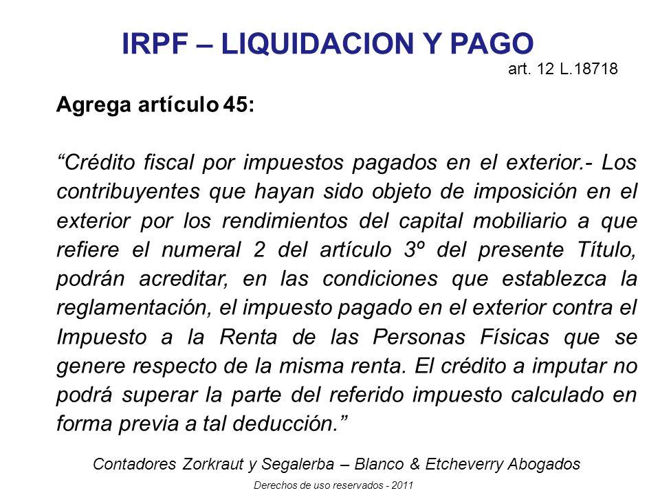 IRPF – LIQUIDACION Y PAGO