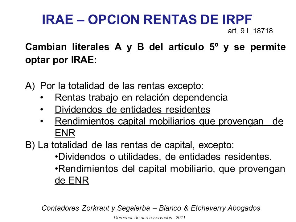 IRAE – OPCION RENTAS DE IRPF