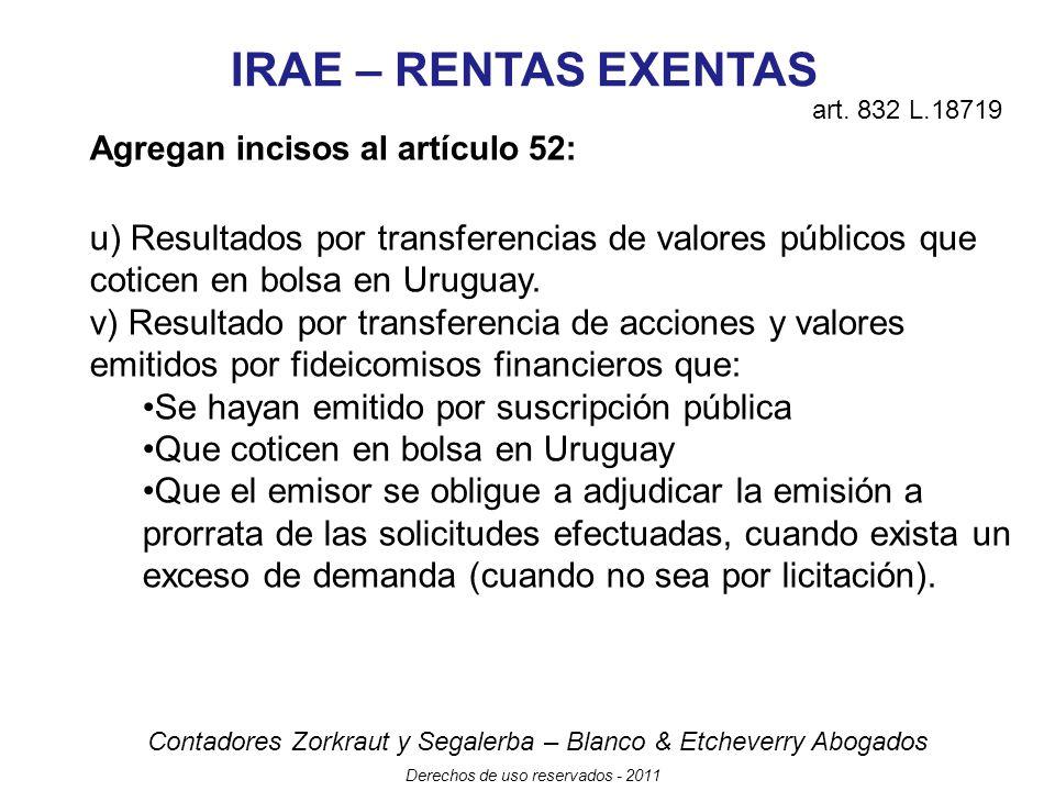 IRAE – RENTAS EXENTAS art. 832 L.18719. Agregan incisos al artículo 52: