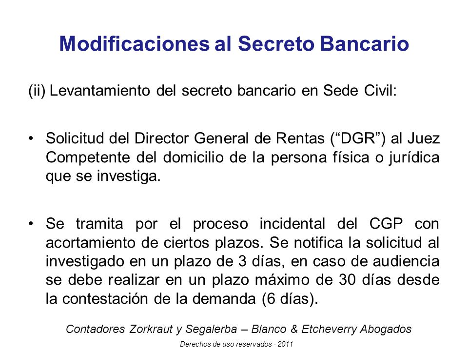 Modificaciones al Secreto Bancario