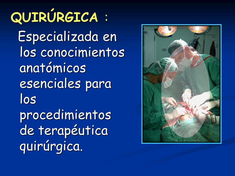QUIRÚRGICA : Especializada en los conocimientos anatómicos esenciales para los procedimientos de terapéutica quirúrgica.