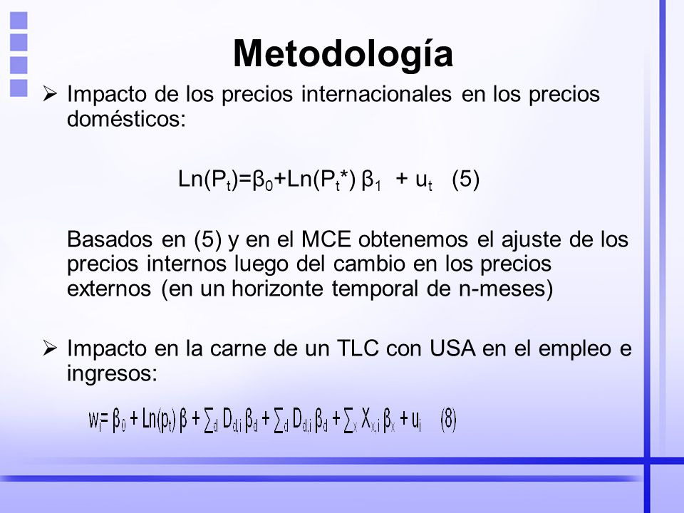 Metodología Impacto de los precios internacionales en los precios domésticos: Ln(Pt)=β0+Ln(Pt*) β1 + ut (5)