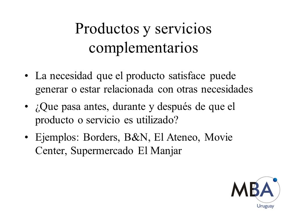 Productos y servicios complementarios
