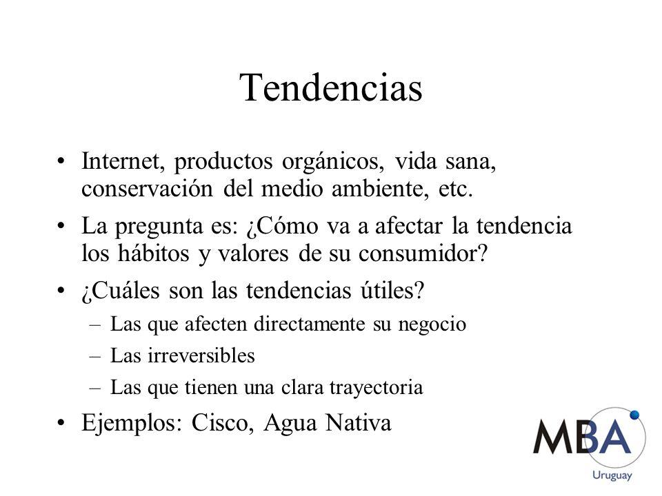 Tendencias Internet, productos orgánicos, vida sana, conservación del medio ambiente, etc.